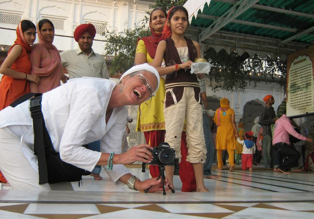 Mary teaching photography at the Golden Temple in Amritsar, India